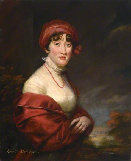 """Honble Miss Fox"", 1810 portrait by James Northcote (1746-1831) of Hon. Caroline Fox (1767-1845), then aged 43, only daughter of Stephen Fox, 2nd Baron Holland. Collection of Royal Albert Memorial Museum, Exeter, Devon"