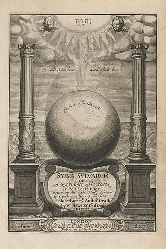 Works by Francis Bacon - Frontispiece of Sylva Sylvarum, Bacon's work on Natural History. In the top, a Sun with the name of God written in Hebraic characters within, surrounded by angels, sending light rays to the Earth