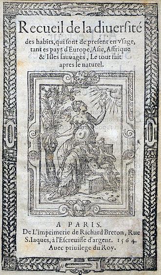 Richard Breton - Title page for Recueil des Habits, 1564