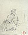 Huet Paul attr. - Pencil - Un homme et son chien - 10.1x12.3cm.jpg