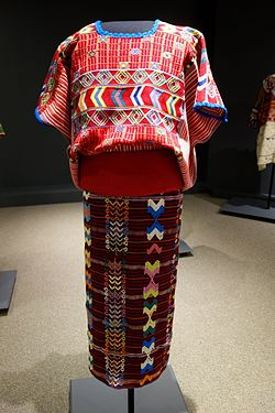 Huipil, skirt, belt, mid 20th century, Mam Maya, mid 20th century, huipil and skirt from Colotenango, belt from Guatemala, cotton - Textile Museum of Canada - DSC01059.JPG