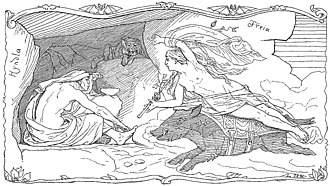 Freyja - Reclining atop her boar Hildisvíni, Freyja visits Hyndla in an illustration (1895) by Lorenz Frølich