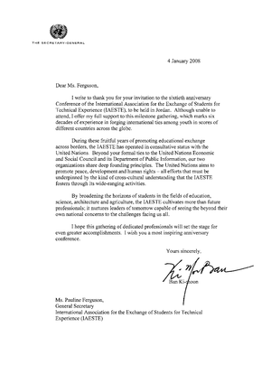 International Association for the Exchange of Students for Technical Experience - Letter from United Nations General Secretary Ban Ki-moon.