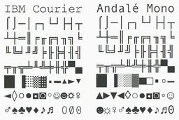 IBM Courier vs Andalé Mono.png