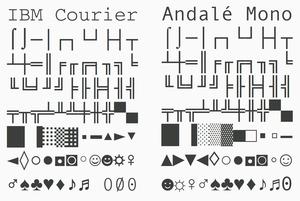 Andalé Mono - Image: IBM Courier vs Andalé Mono