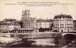 La Vilaine traversant Rennes. Carte postale, vers 1900.