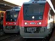 Triebwagen der Odenwaldbahn mit RMV-Logo