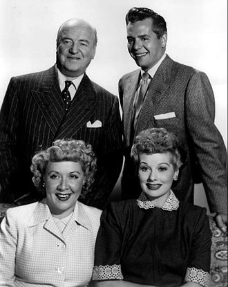 I Love Lucy - Cast members from left, standing: William Frawley, Desi Arnaz, seated: Vivian Vance and Lucille Ball.