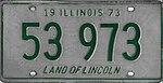 Illinois 1973 license plate - Number 53 973.jpg