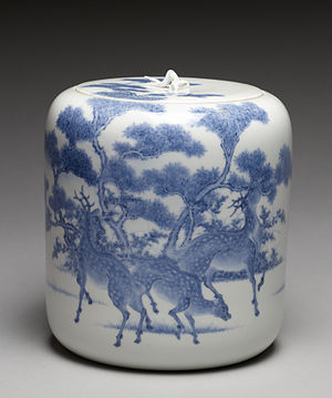 "Mikawachi ware - Image: Imamura Rokuro Fresh Water Jar (""Mizusashi"") with Deer under Maple Trees Walters 491543"