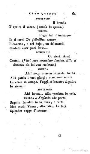 Imelda de' Lambertazzi - The end of V. ii. from Imelda by Gabriele Sperduti, which premiered in Naples, 1825