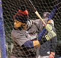 Indians DH Carlos Santana takes batting practice at Wrigley Field. (30555360381).jpg