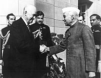 Prime Minister Jawaharlal Nehru receiving U.S. President Dwight D. Eisenhower at Parliament House, before the President addressed a joint session of Indian Parliament