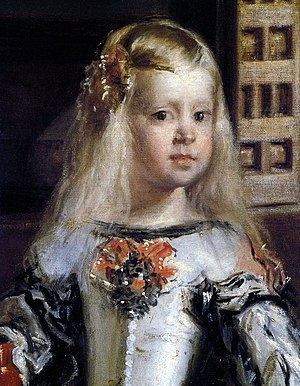Portrait of Mariana of Austria - Detail of Las Meninas showing Mariana's daughter, the Infanta Margaret Theresa. Prado, Madrid