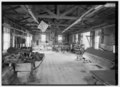 Interior of old machine shop-with equipment. - Barbour Boat Works, Tryon Palace Drive, New Bern, Craven County, NC HAER NC,25-NEBER,29-23.tif