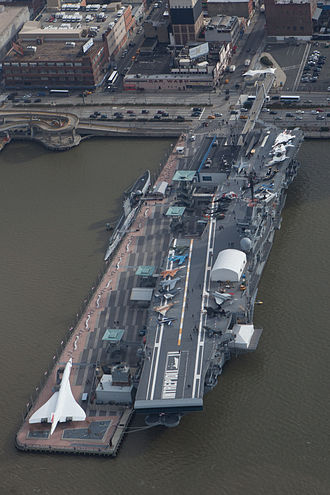 A Concorde at the Intrepid Museum in New York City Intrepid museum aerial.jpg