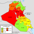 Iraqi Deaths in 2012 - By Province, Per 100,000 People.png
