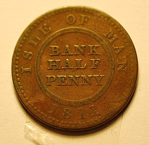 Manx pound - Image: Isle of Man bank half penny 1811 b