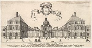 Jean Marot (architect) - Perspective view of the street facade of Salomon de Brosse's Palais du Luxembourg in 1649, as engraved by Marot in collaboration with Israël Silvestre and Stefano della Bella