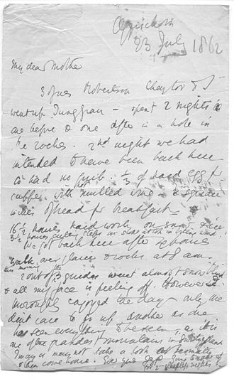 James Surtees Phillpotts - Letter written by J.S. Phillpotts after ascending the Jungfrau, July 1863. (Subsequently mis-dated as 1862.)