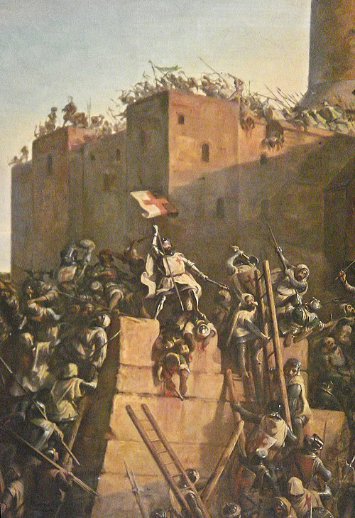 Jacques de Molay Grand Maitre de l Ordre du Temple prend Jerusalem 1299 detail flag corr.jpg