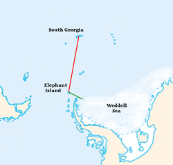 Outline map showing Weddell Sea, Elephant Island and South Georgia with parts of the landmasses of Antarctica and South America. A line indicates the path of the voyage from Elephant Island to South Georgia.