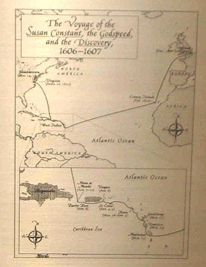 History of Jamestown, Virginia (1607–99) - Map in Marker in Puerto Rico's which traces the routes taken by the Godspeed, Susan Constant and the Discovery and which commemorates their stopping in Puerto Rico from April 5–10, 1607 on their way to Virginia.
