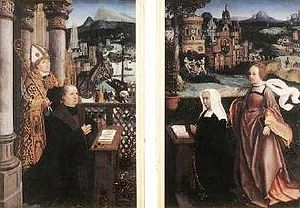 Jan Provoost - Donor with Saint Nicholas and Wife with Saint Godelina.