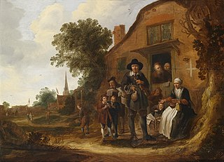 Travelling musician before a cottage