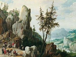 Jan Tilens - Rocky landscape with travelers