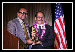 Jayam Rutnam - Rutnam received the main award at the Sri Lanka Foundation Awards, held on Sunday, November 16, 2014 at the Millennium Biltmore Hotel in Los Angeles. The award was presented by Sri Lanka Foundation President, Dr. Walter Jayasinghe for Rutnam's work with the Sri Lankan expatriate community in Southern California.