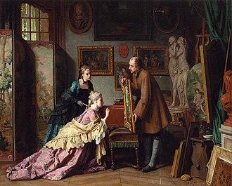 Jean Carolus - Image: Jean Carolus, 1889, A Visit to the Studio, oil on canvas, 78 x 95 cm, private collection