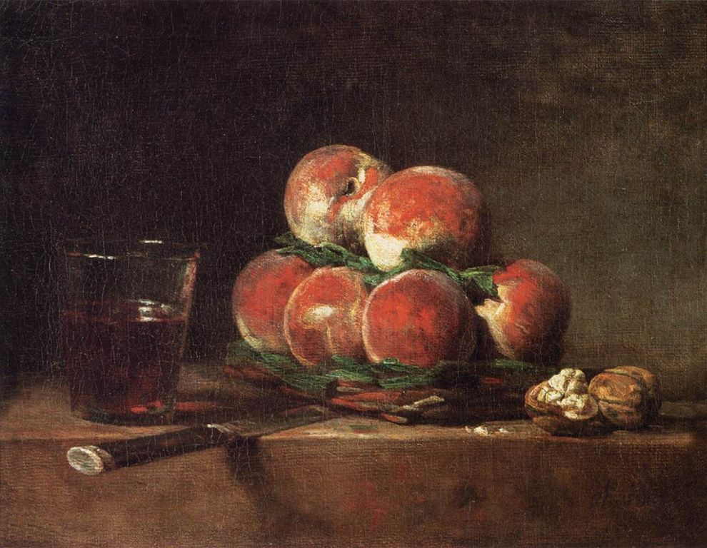 Jean Siméon Chardin - Basket of Peaches, with Walnuts, Knife and Glass of Wine - WGA04783