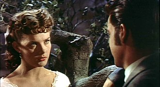 Jean Peters - Peters in the trailer for the film Broken Lance (1954)