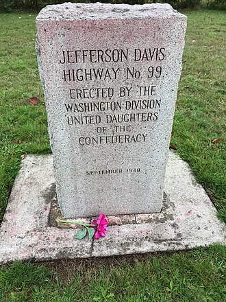 Jefferson Davis Highway - Jefferson Davis Highway Maker from Blaine Washington, now displayed at Jefferson Davis Park outside Ridgefield, Washington