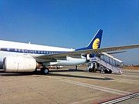 Jet Airways Flight VT-JFR at Tribhuvan International Airport, Nepal.jpg