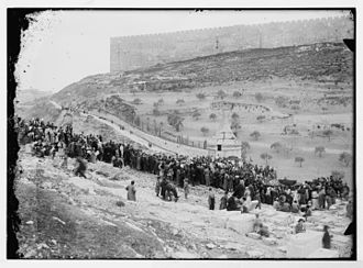 Kidron Valley - Historic photograph of Jews gathering at Absalom's Tomb in the Kidron Valley