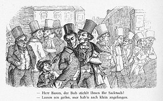 Stereotypes of Jews - A German cartoon of 1851 implies ingrained dishonesty in Jews. Enlarge for caption.