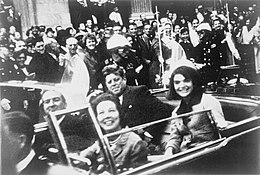 President Kennedy with his wife, Jacqueline, and Texas Governor John Connally in the presidential limousine shortly before his assassination