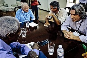 John Prendergast (activist) - Image: John Prendergast G. Clooney Pres. Carter K Annan S. Sudan 2011