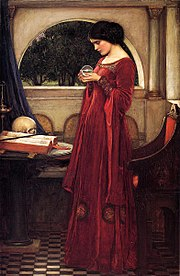 """The Crystal Ball"" by John William Waterhouse: using material for magical purposes; besides the crystal, a book and a wand."