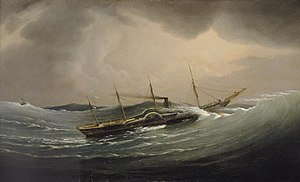 Joseph Walter - The 'Great Western' riding a tidal wave, 11 December 1844.jpg