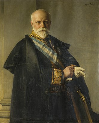 Order of Charles III - The 6th Duke of Ursel wearing the blue and white sash of Grand Cross of the Order.
