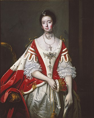 Robes of the British peerage - The Countess of Dartmouth, 1757 (matching robe and kirtle worn over a white court dress).