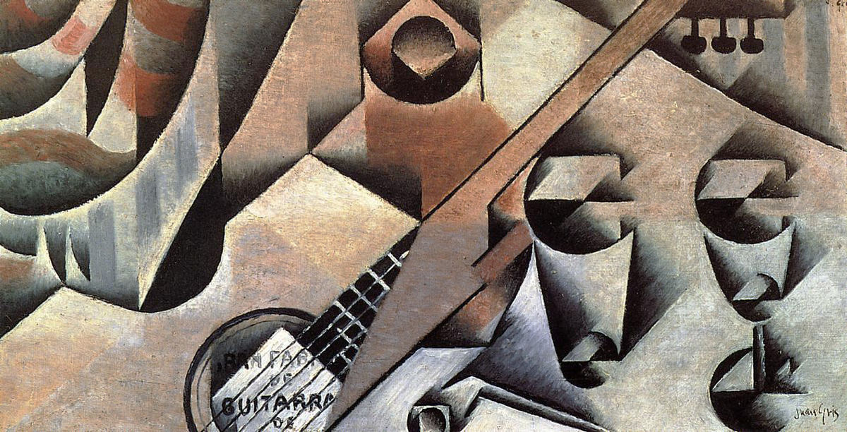 Juan Gris, 1912, La Guitare (Guitar and Glasses), oil on canvas, 30 x 58 cm, private collection.jpg