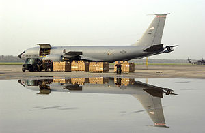 155th Air Refueling Wing - A 155th ARW KC-135R unloading cargo in 2005