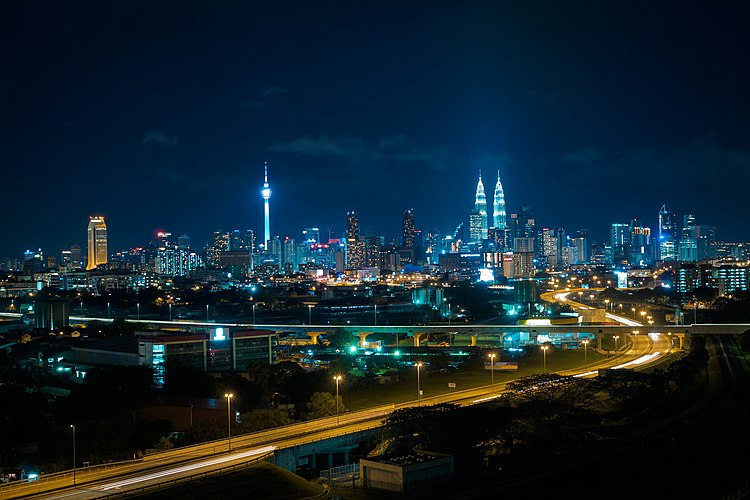The City Night Scene From A Building Balcony Kuala Lumpur Night Skyline