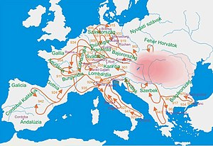 History of Hungary - Hungarian raids across Europe in the 10th century.