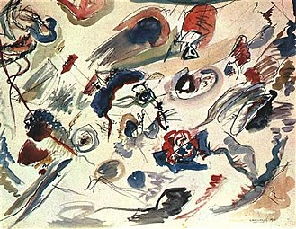 Russian avant-garde - Abstract art. Vasily Kandinsky, Kandinsky's first abstract watercolor (Study for Composition VII, Première abstraction), painted in 1913
