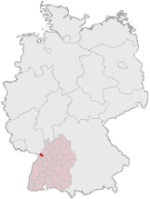 Map of Germany, Position of Karlsruhe highlighted